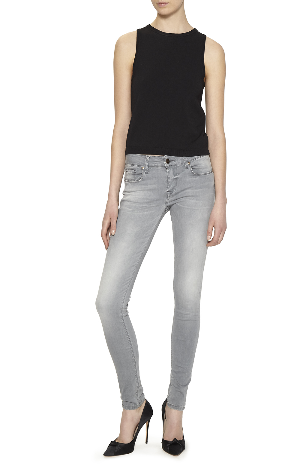 nicole miller low rise skinny jeans in gray lyst. Black Bedroom Furniture Sets. Home Design Ideas