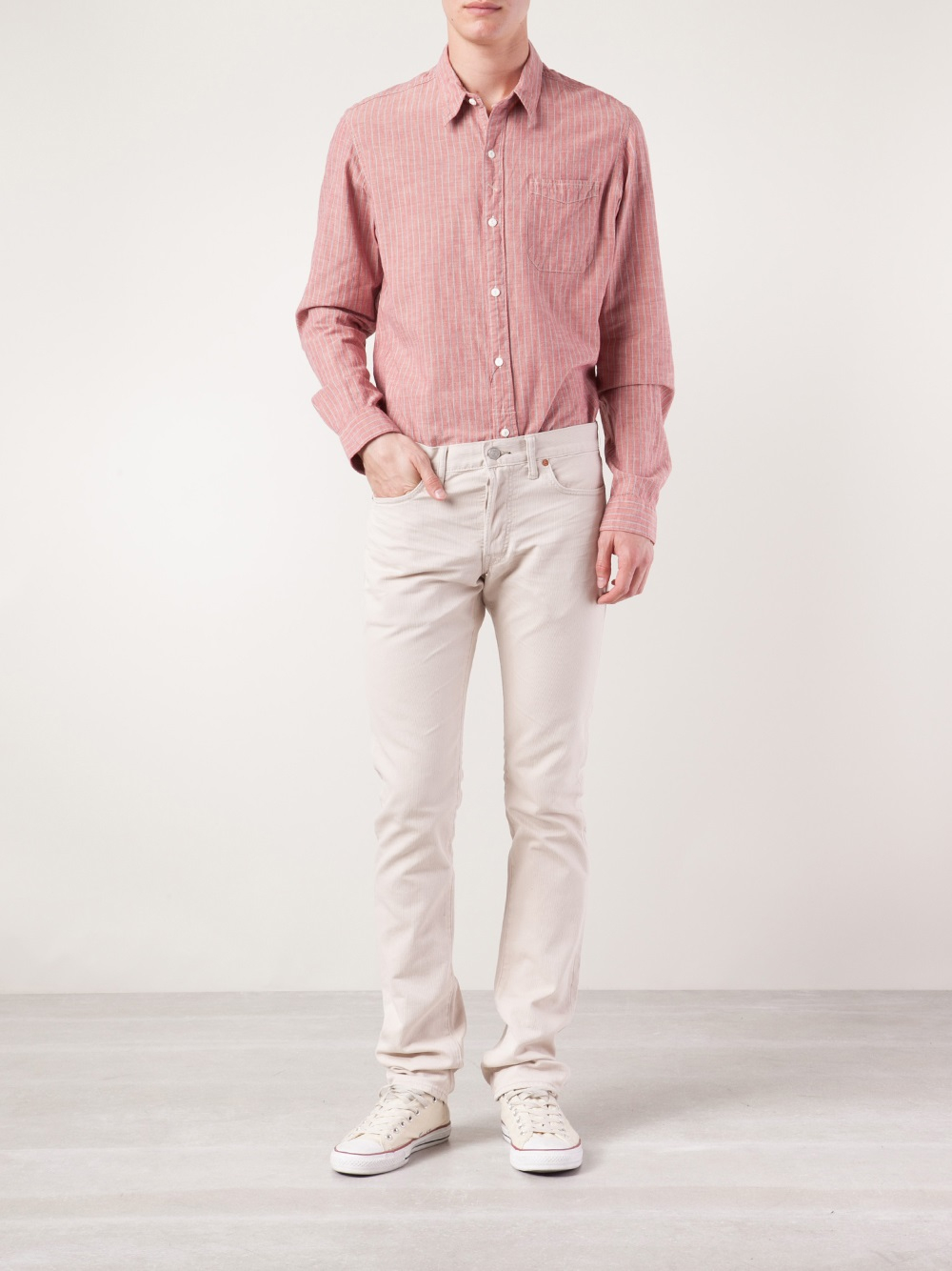 Rrl Stripe Button Down Shirt in Pink for Men | Lyst