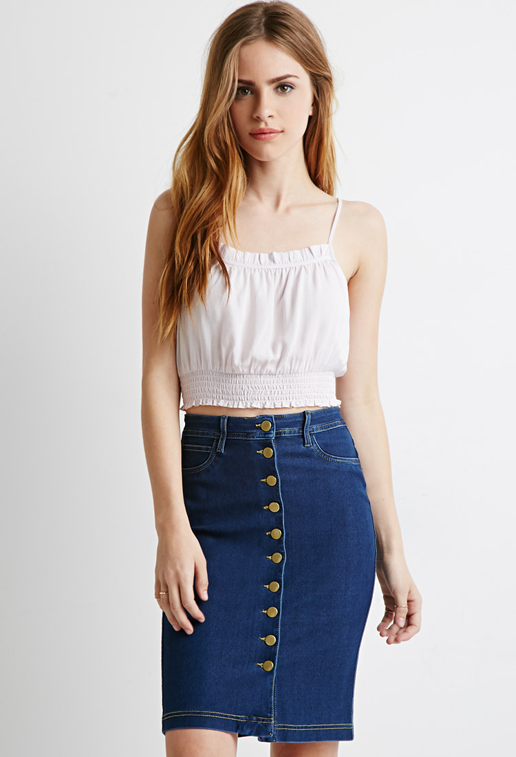 Forever 21 Buttoned Denim Pencil Skirt In Blue Lyst