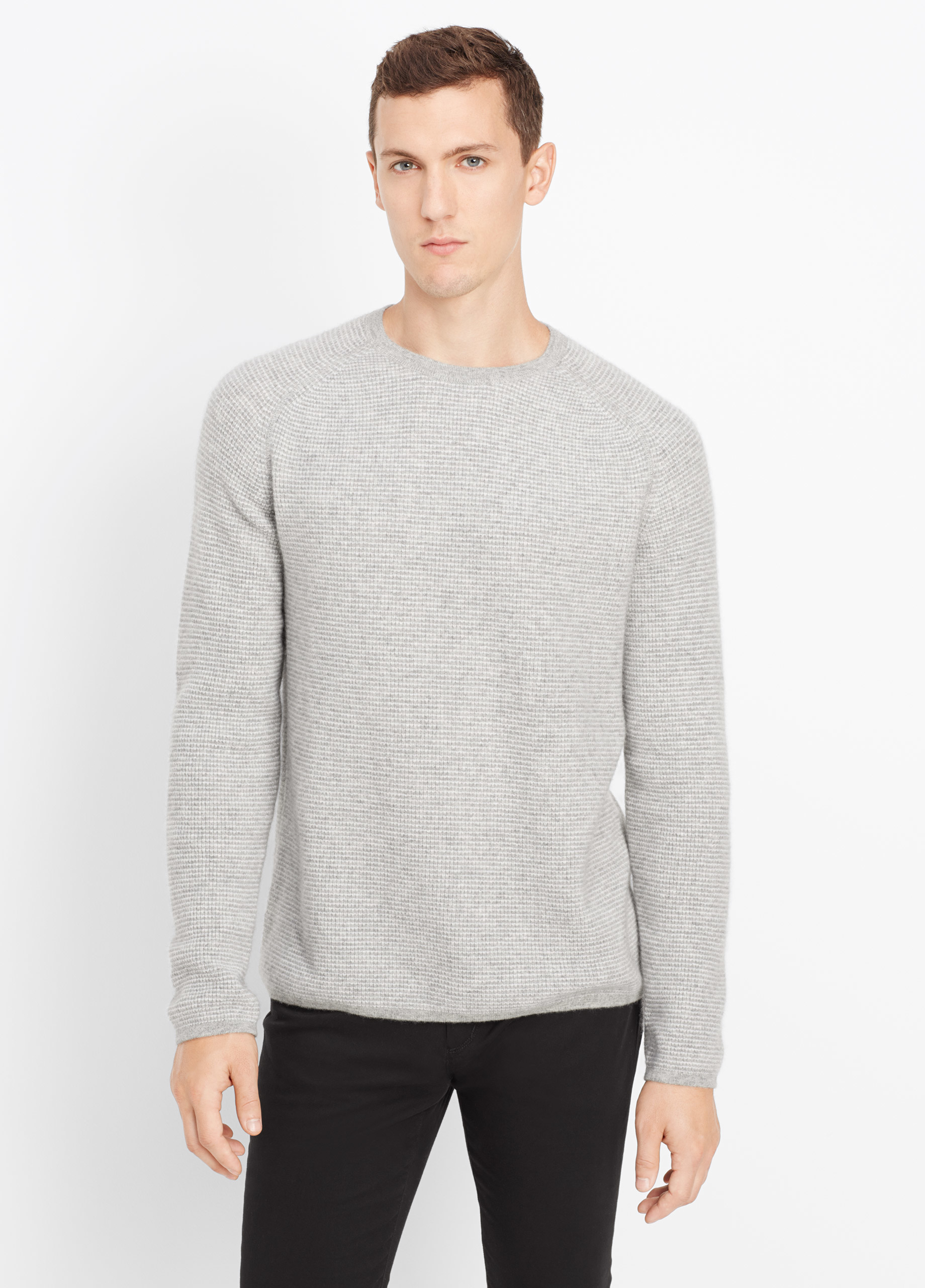 Vince Cashmere Thermal Stripe Crew Neck Sweater in Gray ...