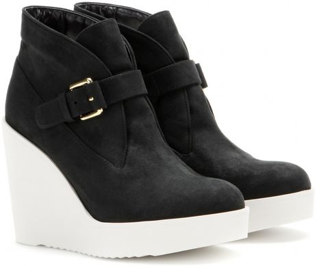 stella mccartney suede wedge ankle boots in black lyst
