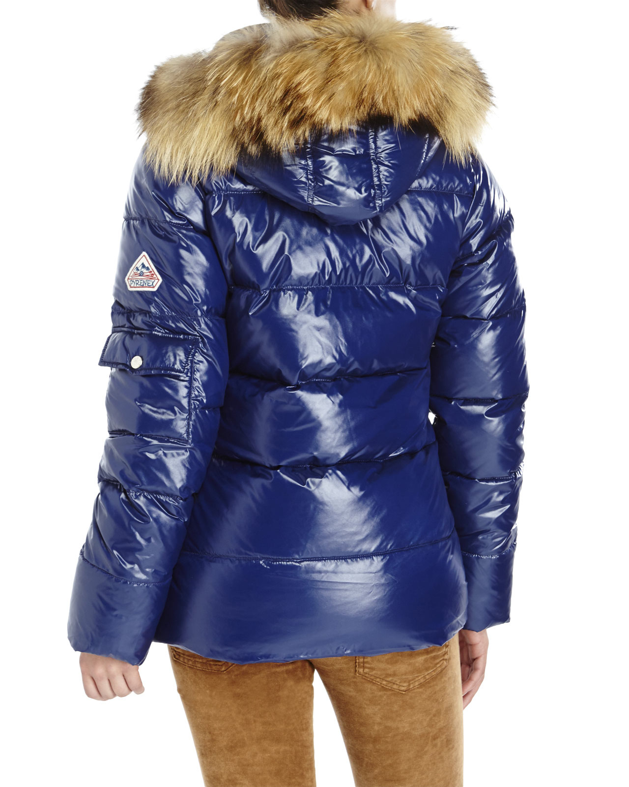 Pyrenex Authentic Shiny Real Fur Trim Down Jacket in Blue | Lyst