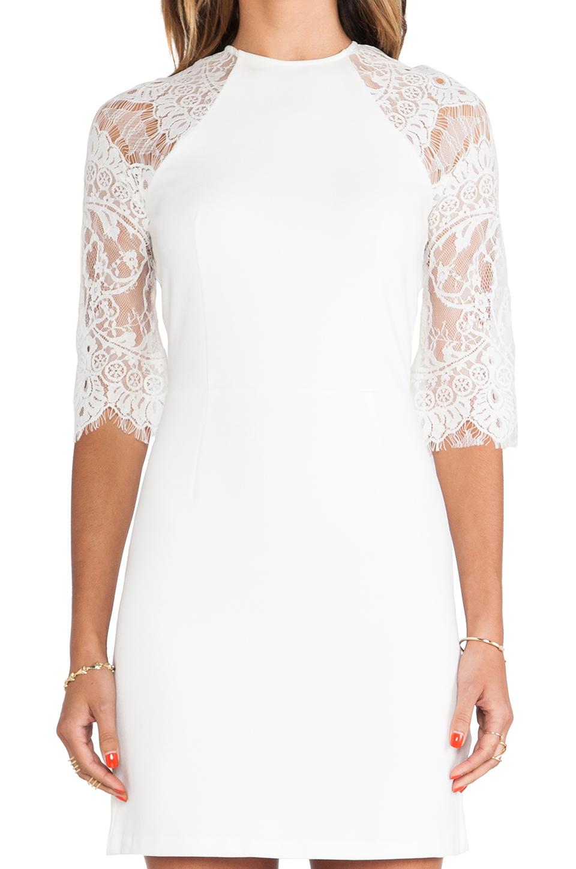 bf6a2e560f Lyst - BB Dakota Princeton Ponte Dress W  Lace Sleeves in White