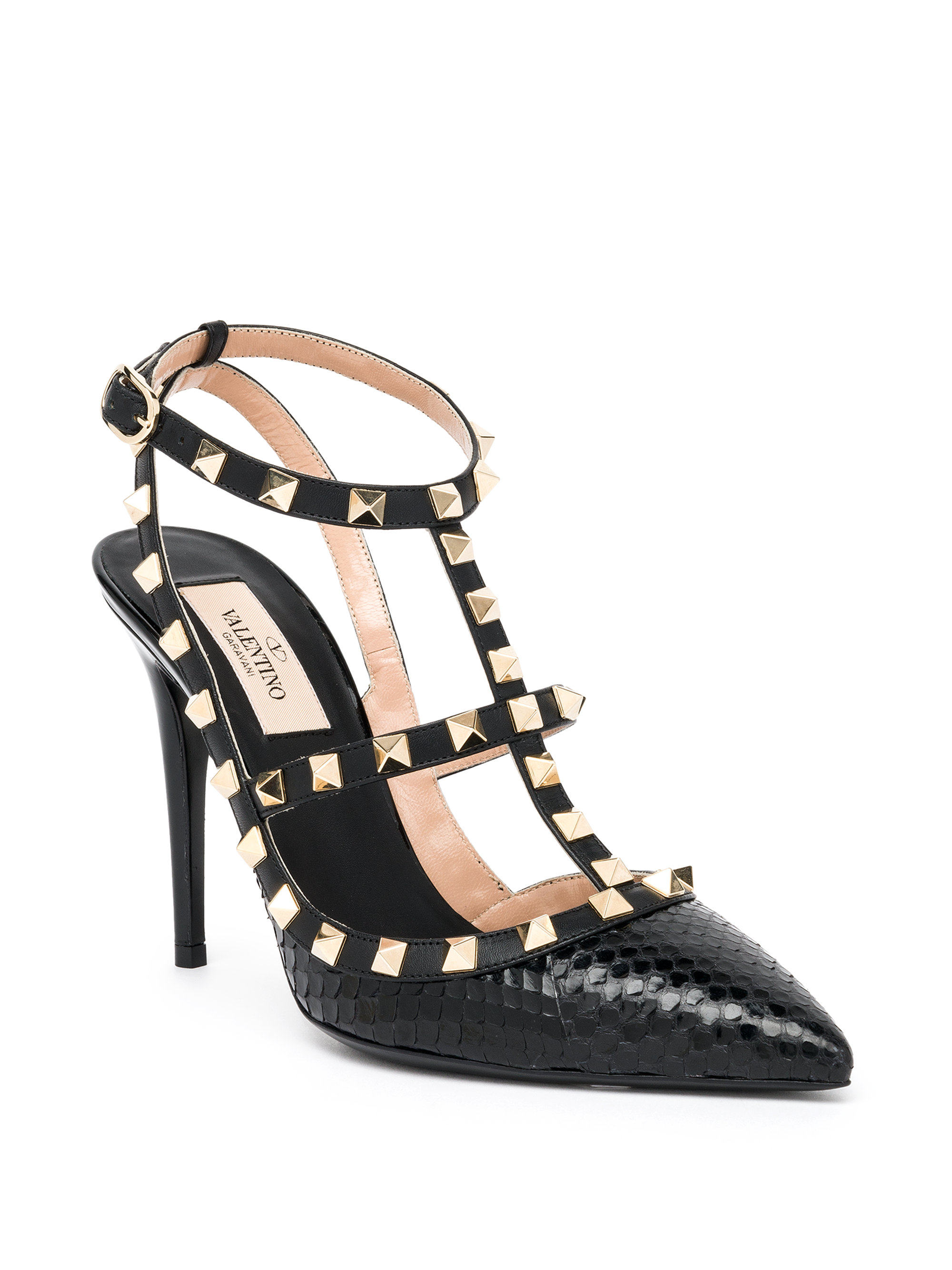 Lyst Valentino Rockstud Studded Snakeskin Amp Leather