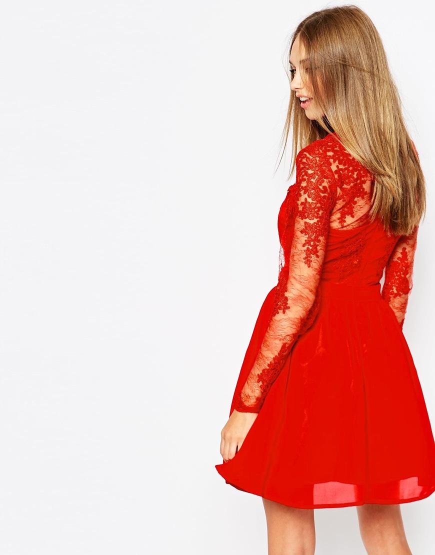 Premium Lace Long Sleeve Skater Dress