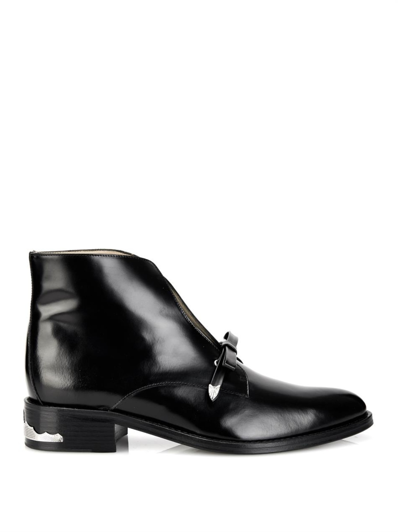 Lyst Toga High Shine Leather Ankle Boots In Black