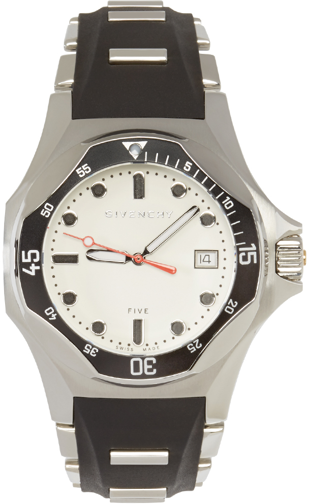 Givenchy silver black five shark watch in metallic for men lyst for Givenchy watches