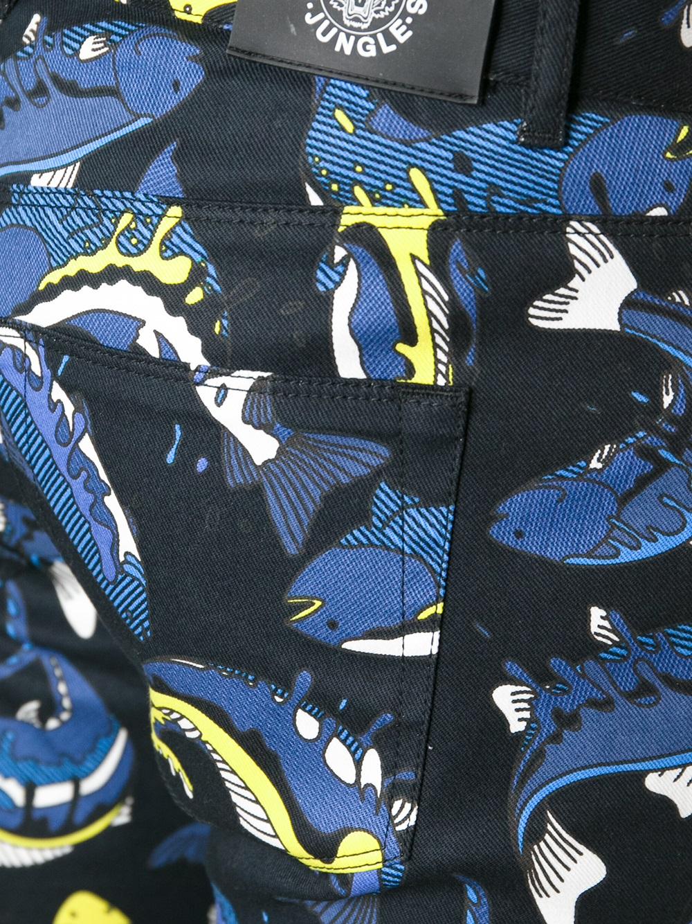 KENZO Fish Printed Skinny Jeans in Black (Blue) for Men