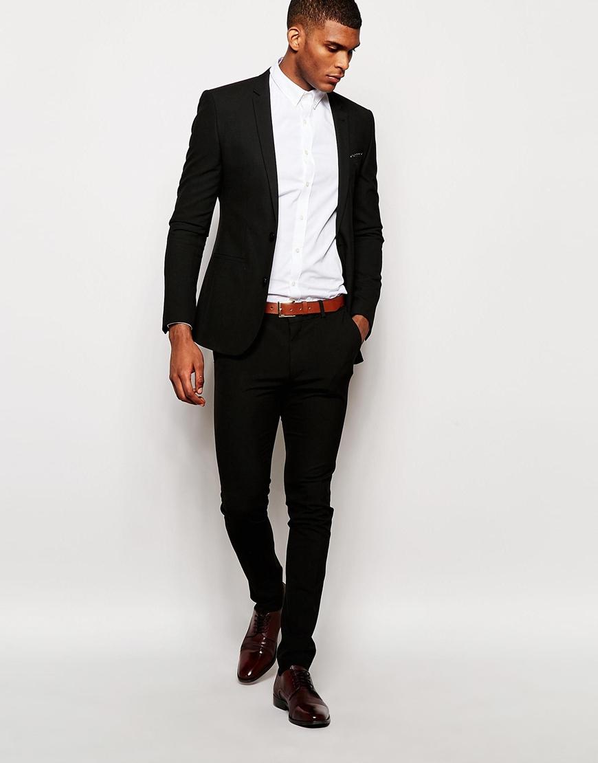 Asos Wedding Super Skinny Suit Jacket In Black In Black