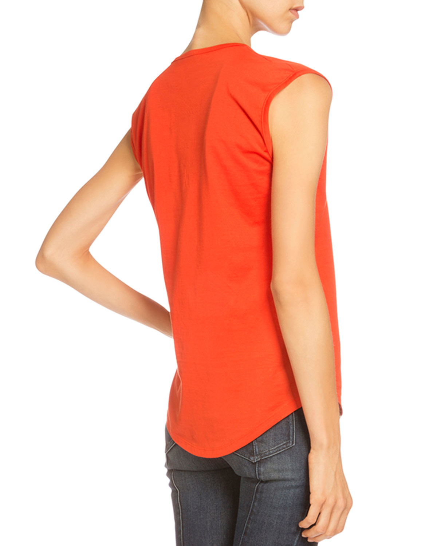7cdb1f6b60d Balmain Logo Button-shoulder Muscle Tee in Orange - Lyst