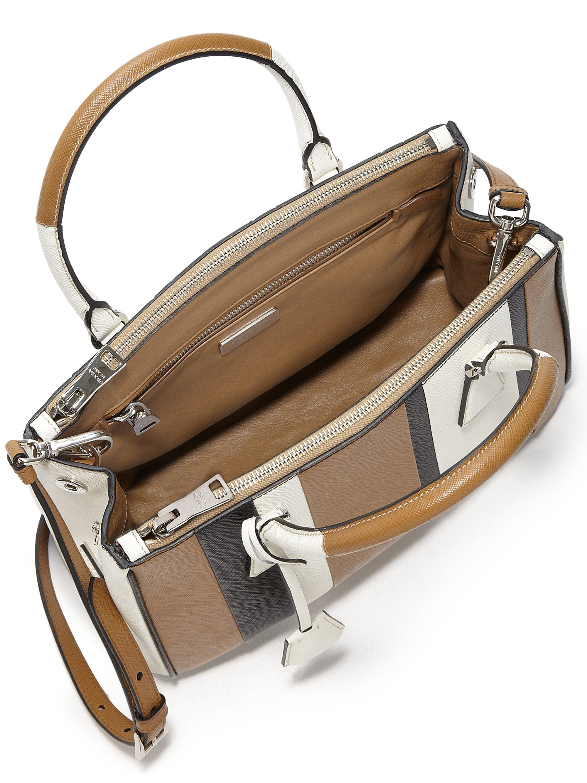 prada handbag outlet online - Prada Saffiano Lux Small Baiadera Double Zip Tote in Brown ...