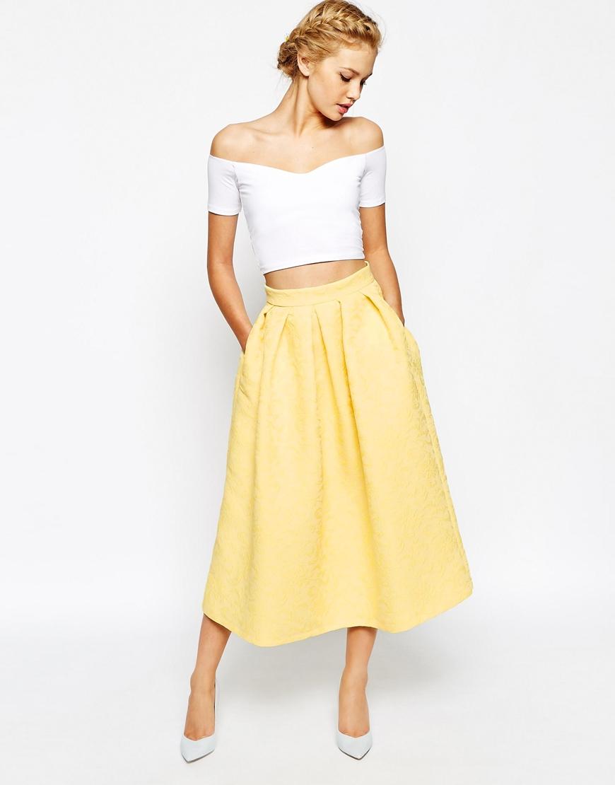 Closet Full Prom Midi Skater Skirt In Jacquard in Yellow | Lyst