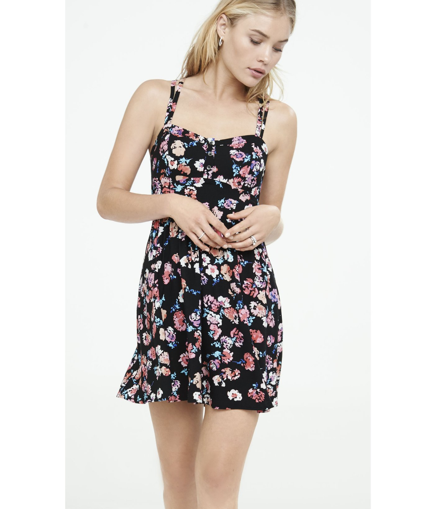 9df5b875978 Express Floral Print Strappy Cami Sundress in Black - Lyst