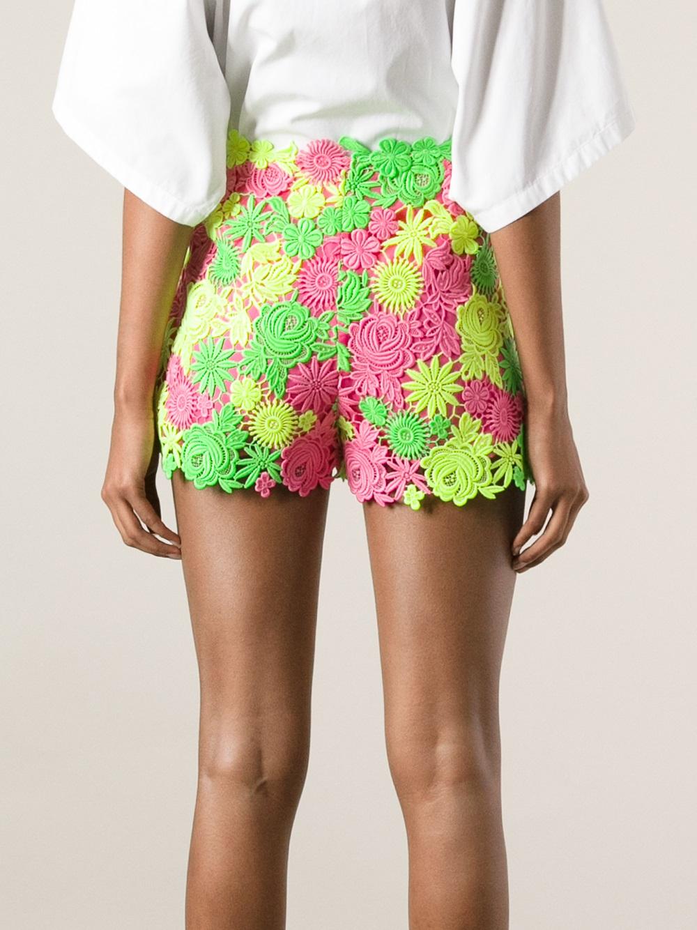 Crochet Shorts : Valentino Floral Crochet Shorts in Multicolor (multicolour) Lyst