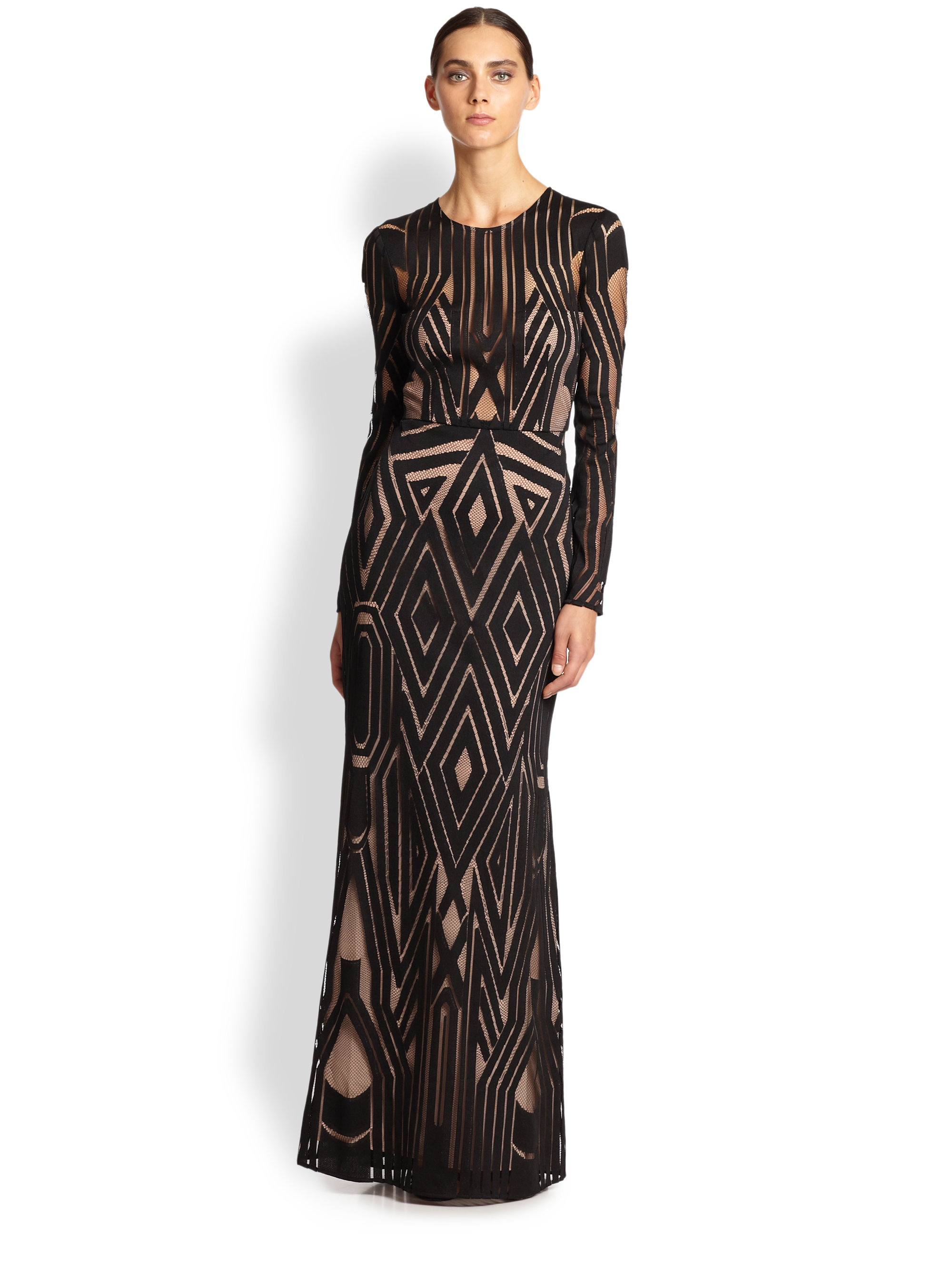 Lyst - Bcbgmaxazria Viera Engineered Lace Gown in Black