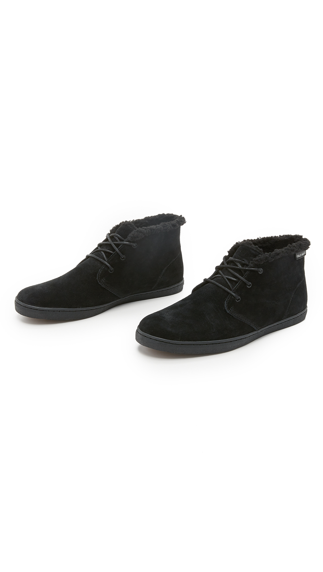 cole haan pinch suede weekender chukka boots in black for