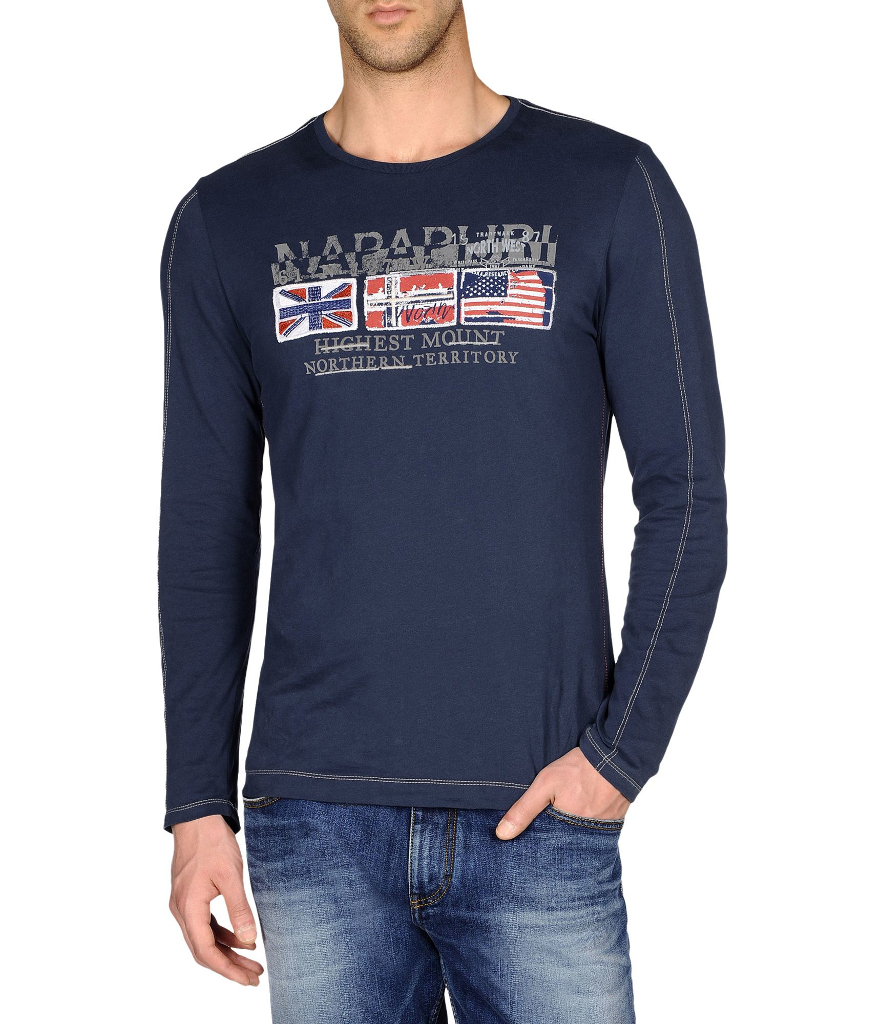 napapijri long sleeve t shirt in blue for men lyst. Black Bedroom Furniture Sets. Home Design Ideas