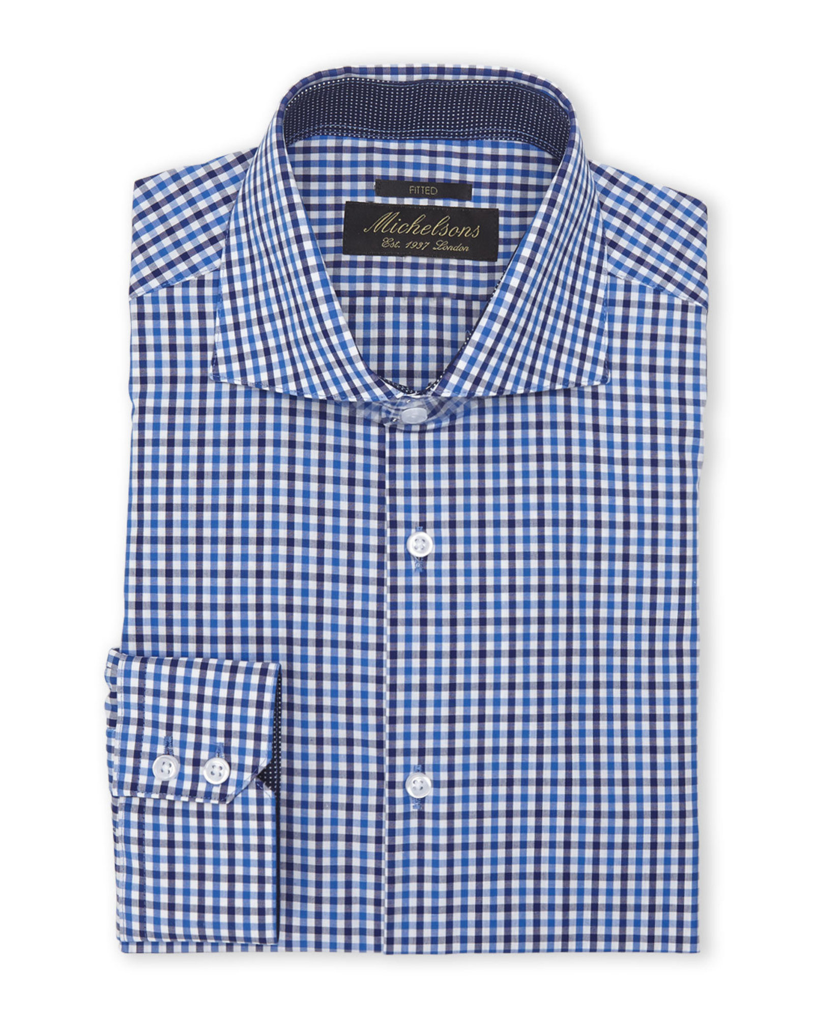 Michelsons of london navy fitted check dress shirt in blue for Navy blue checkered dress shirt