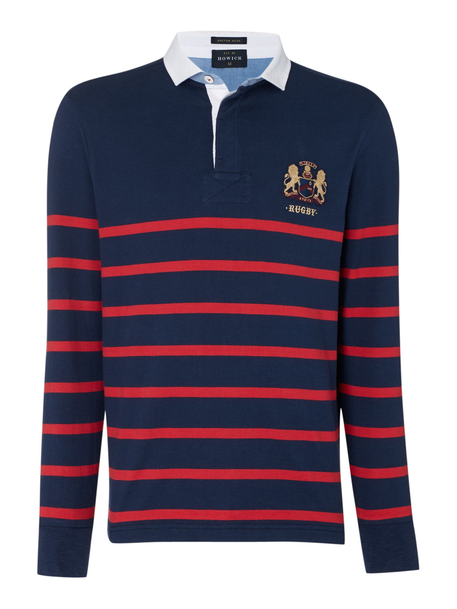 Howick st malo long sleeve striped rugby shirt in blue for for Long sleeve striped rugby shirt