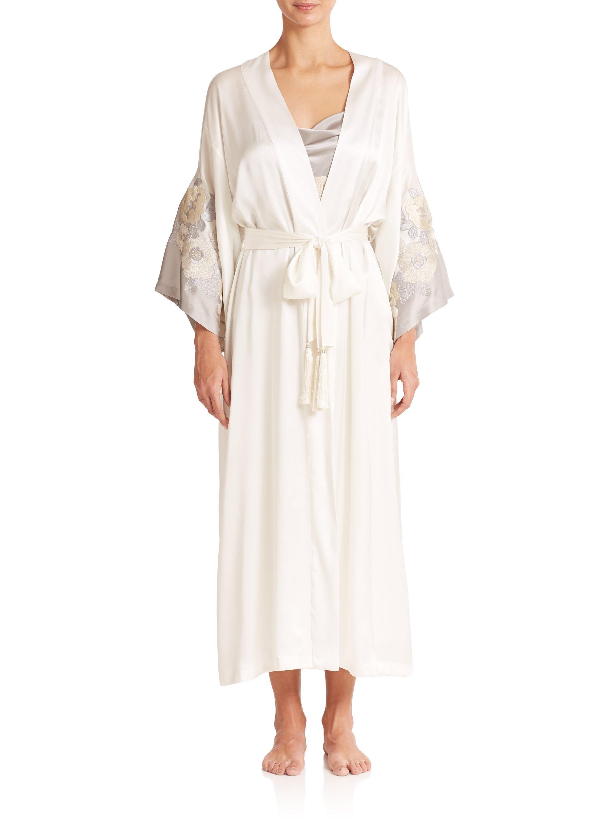 be91846d37 Lyst - Josie Natori Amara Silk Robe in Natural
