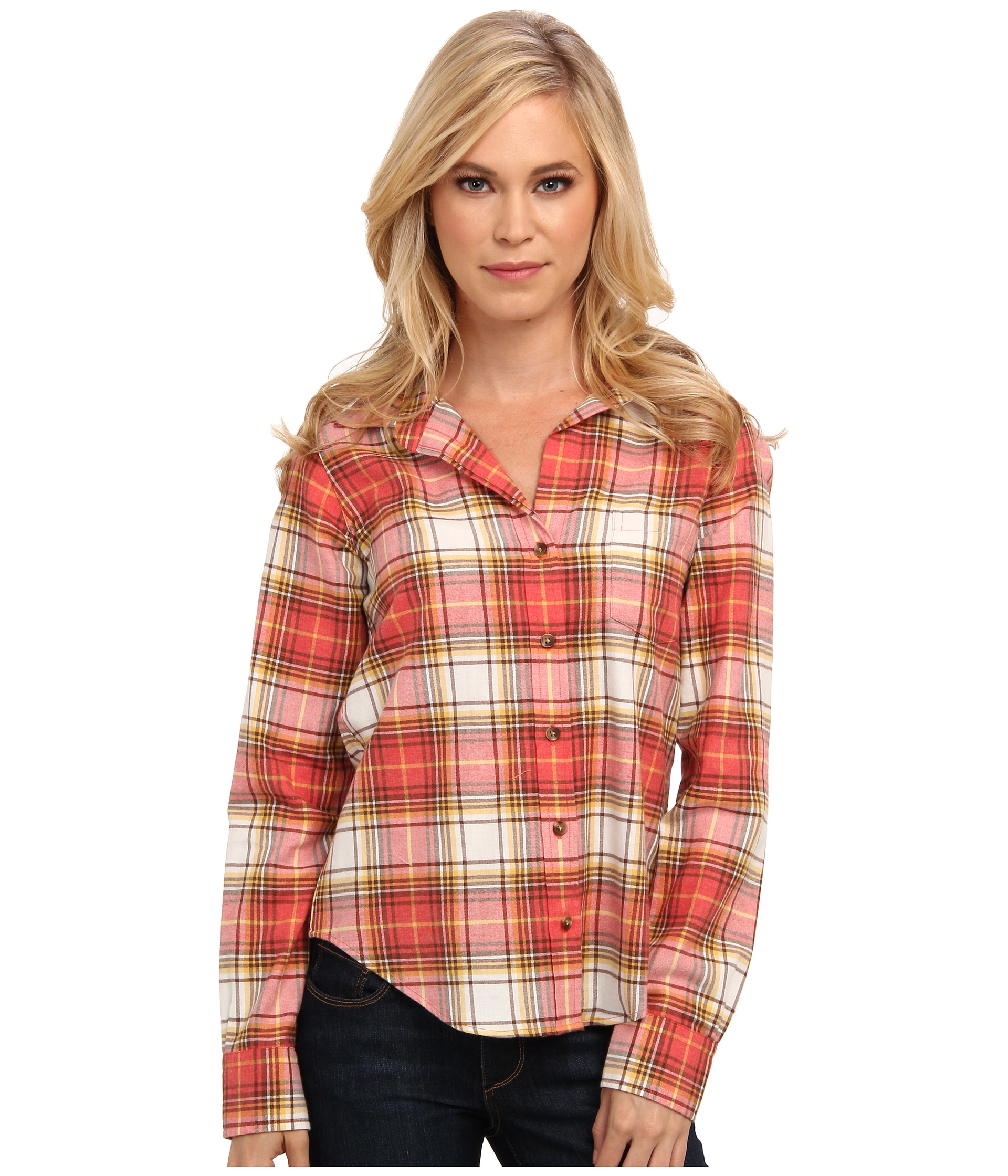Pendleton cotton flannel long sleeve plaid shirt in red for Long plaid flannel shirt