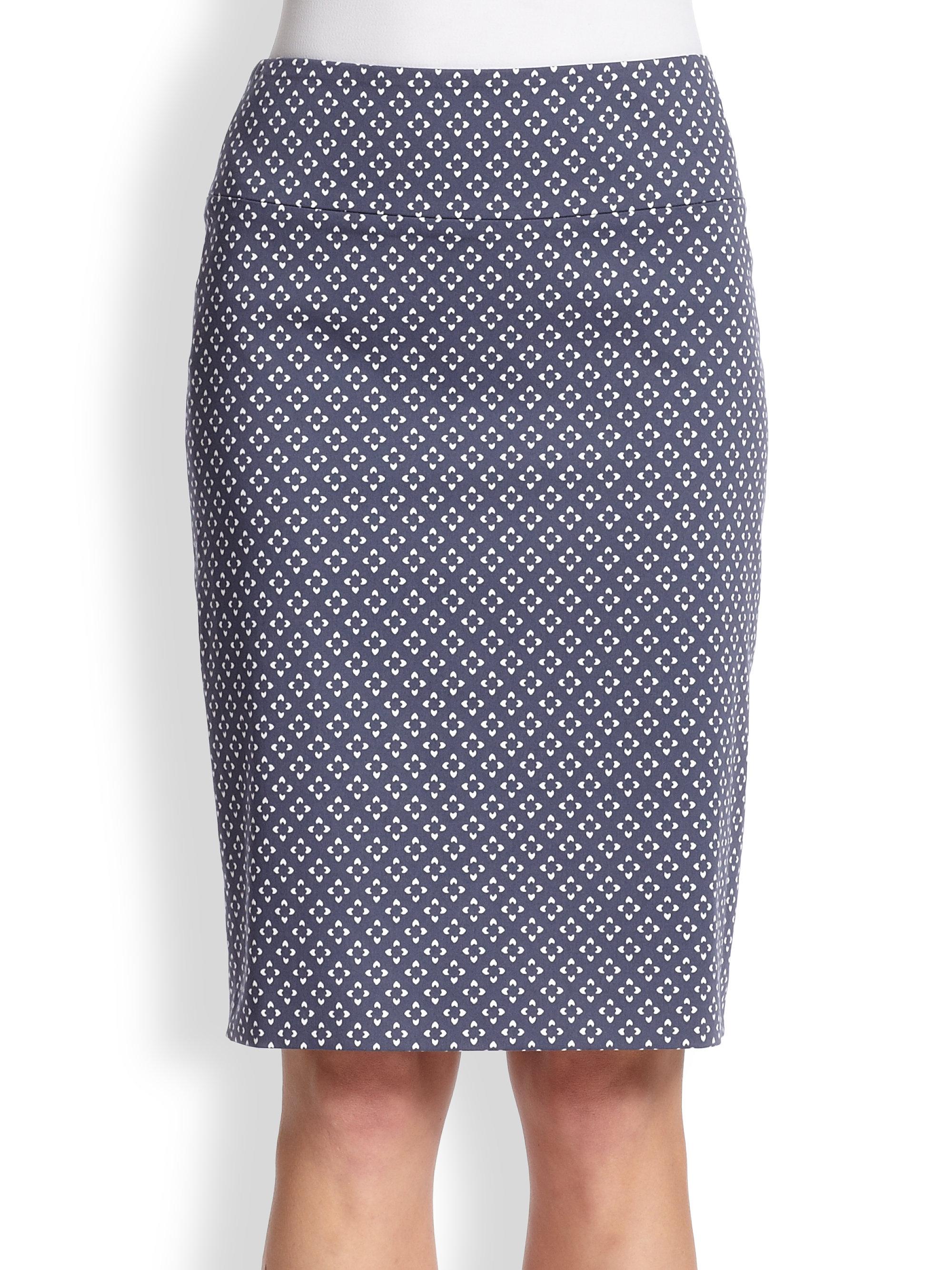 peserico print pencil skirt in blue lyst
