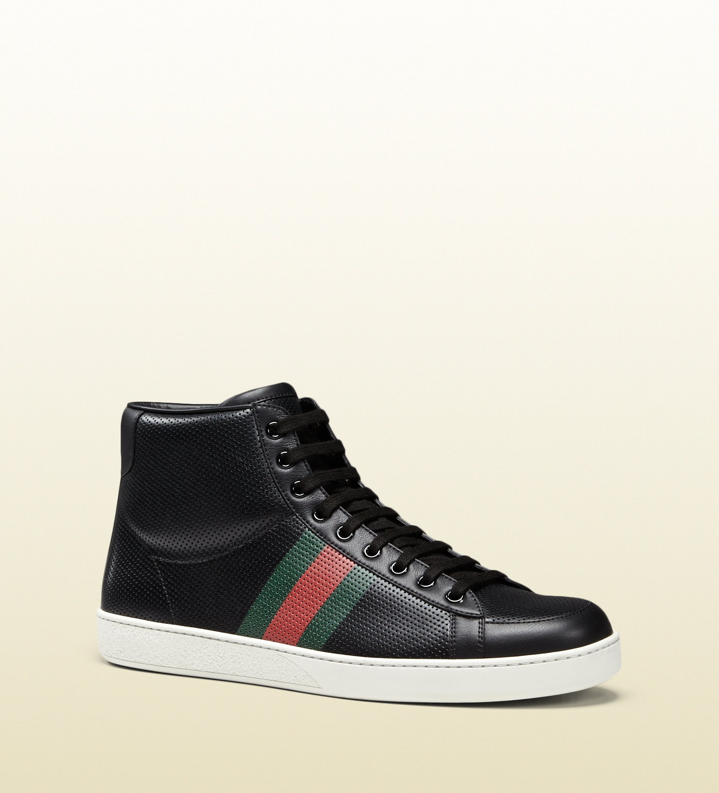 gucci perforated leather high top sneaker in black for men. Black Bedroom Furniture Sets. Home Design Ideas