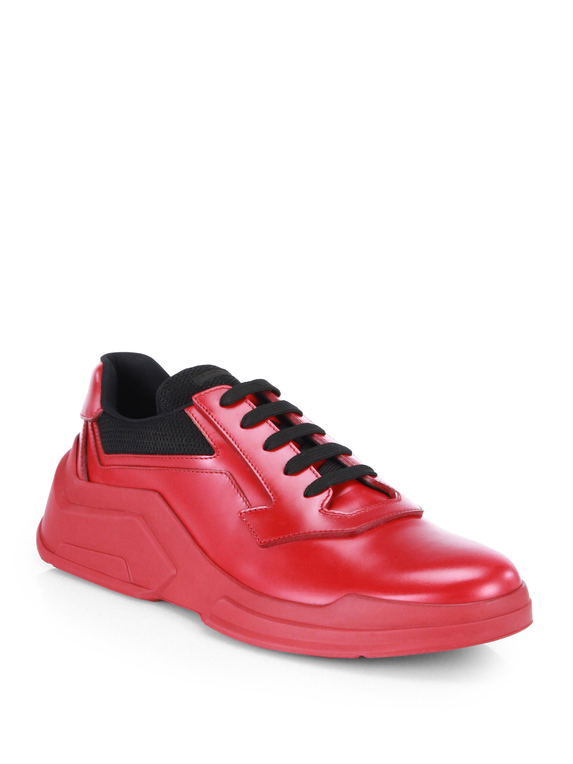 Prada Spazzolato Laced Runway Sneakers in Red for Men | Lyst