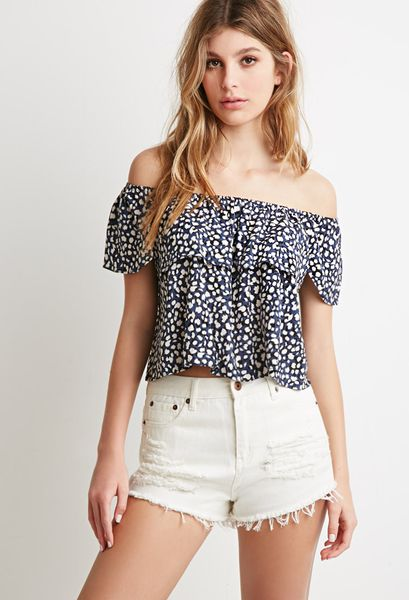Forever 21 Abstract Dot Off-The-Shoulder Top in Blue (Blue/cream)