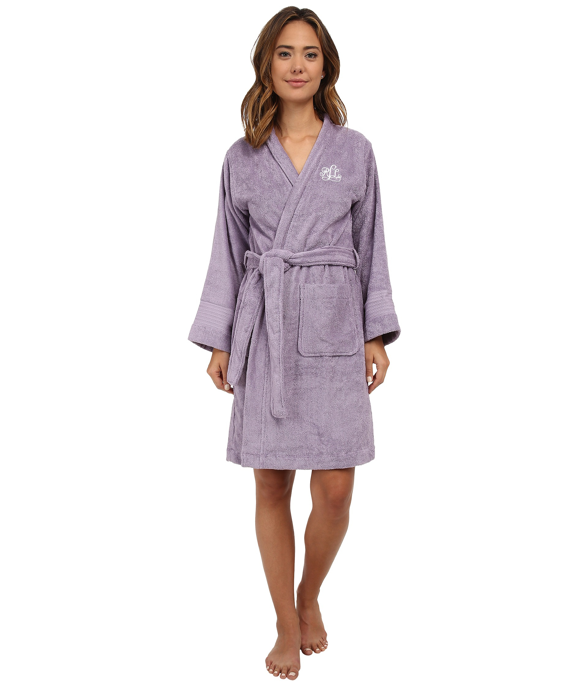 lauren by ralph lauren greenwich woven terry robe in purple wisteria lyst. Black Bedroom Furniture Sets. Home Design Ideas
