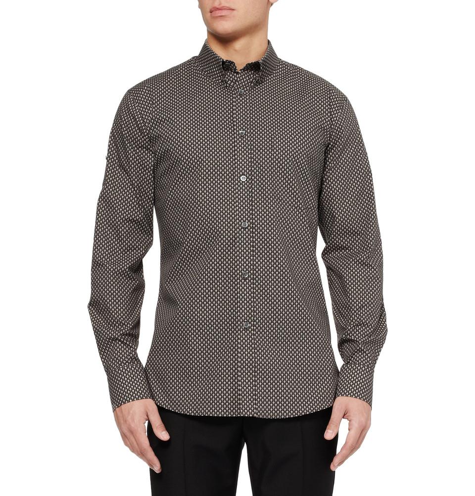 Lyst alexander mcqueen skull print shirt in gray for men for Alexander mcqueen shirt men