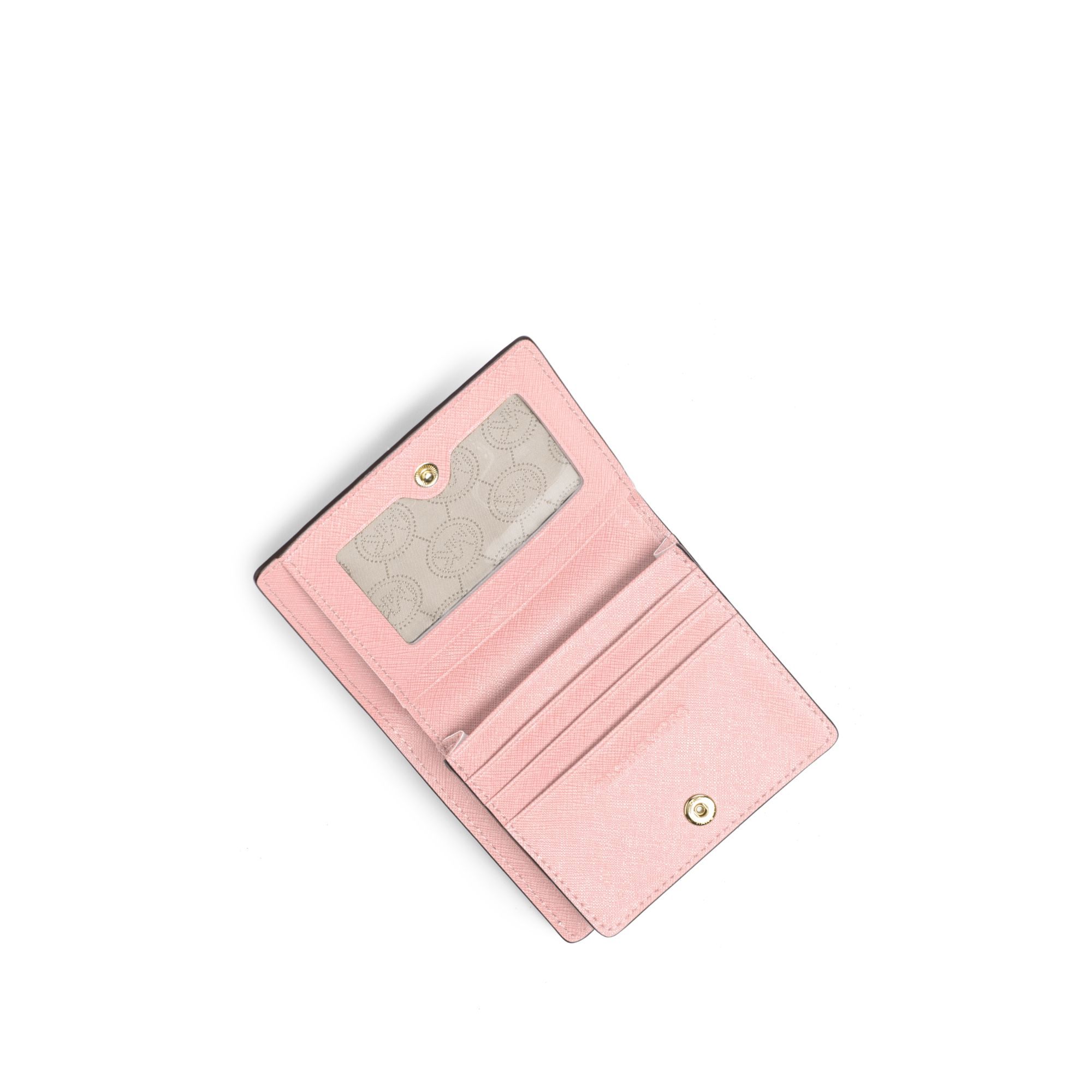 5a08eb6bb64e Michael Kors Travel Saffiano Leather Card Holder in Pink - Lyst