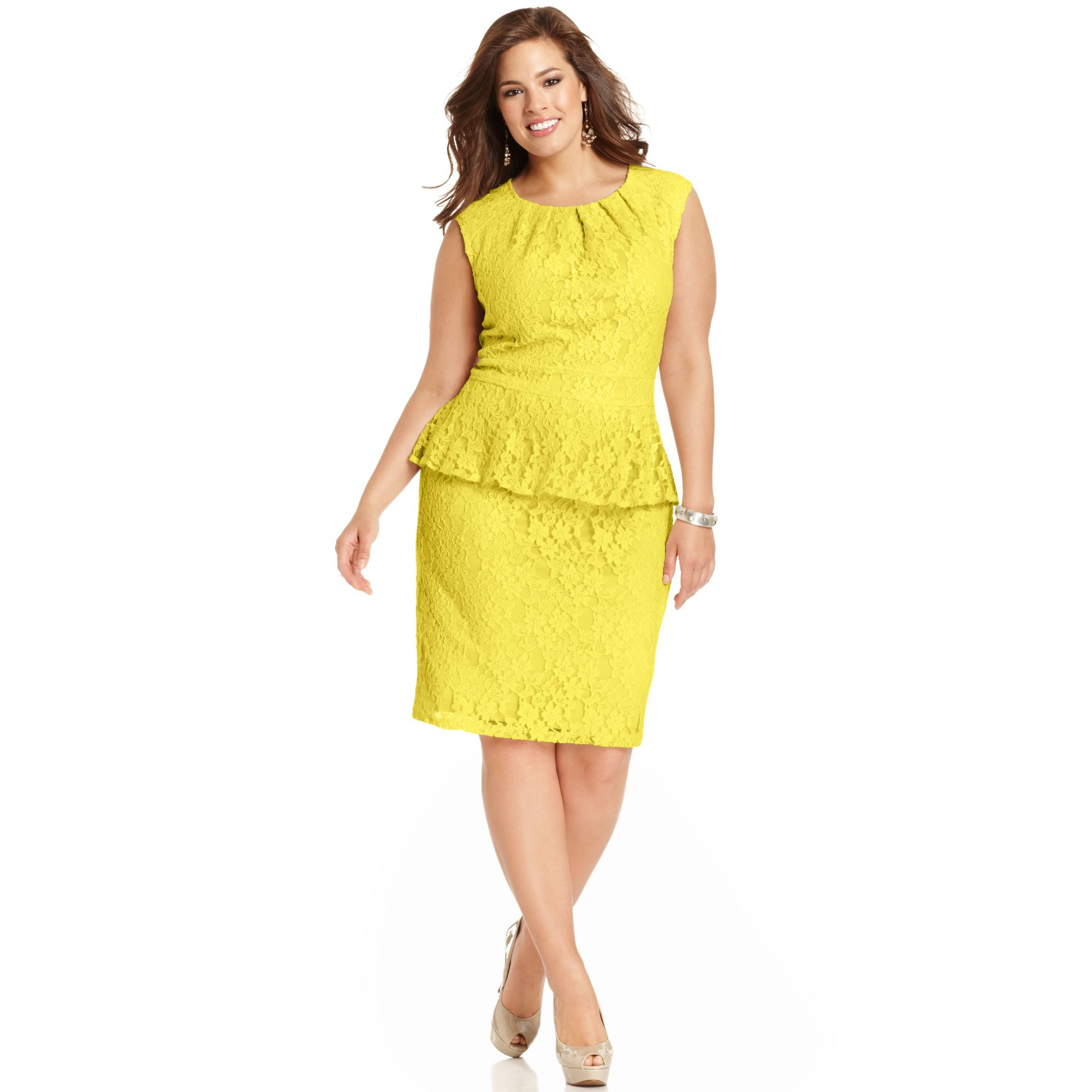 Spense Plus Size Capsleeve Lace Peplum Dress in Yellow | Lyst