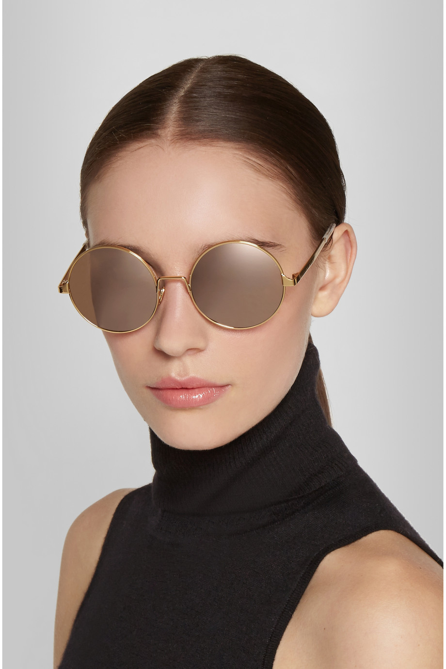 Mirrored Round Sunglasses  cutler gross round frame gold plated mirrored sunglasses in