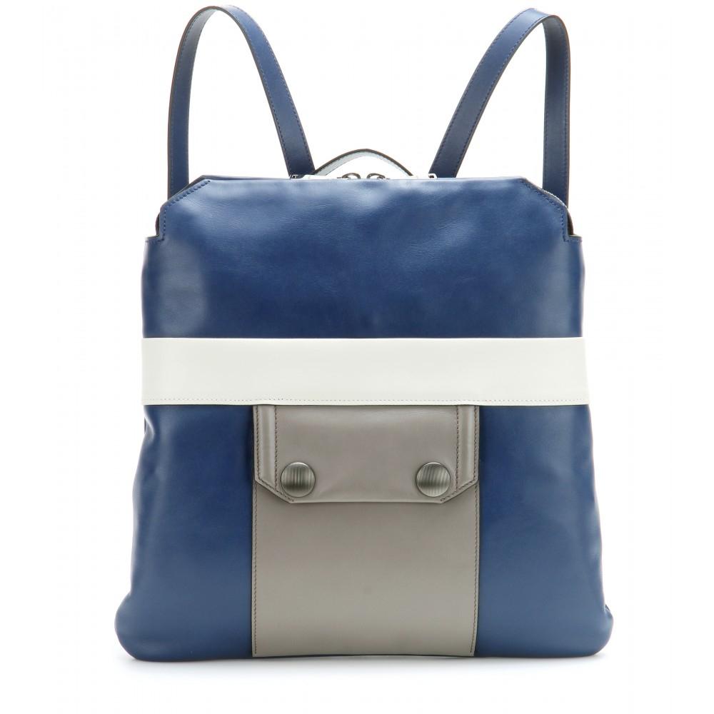 Lyst - Miu Miu Leather Backpack in Blue dea75f10bfa02