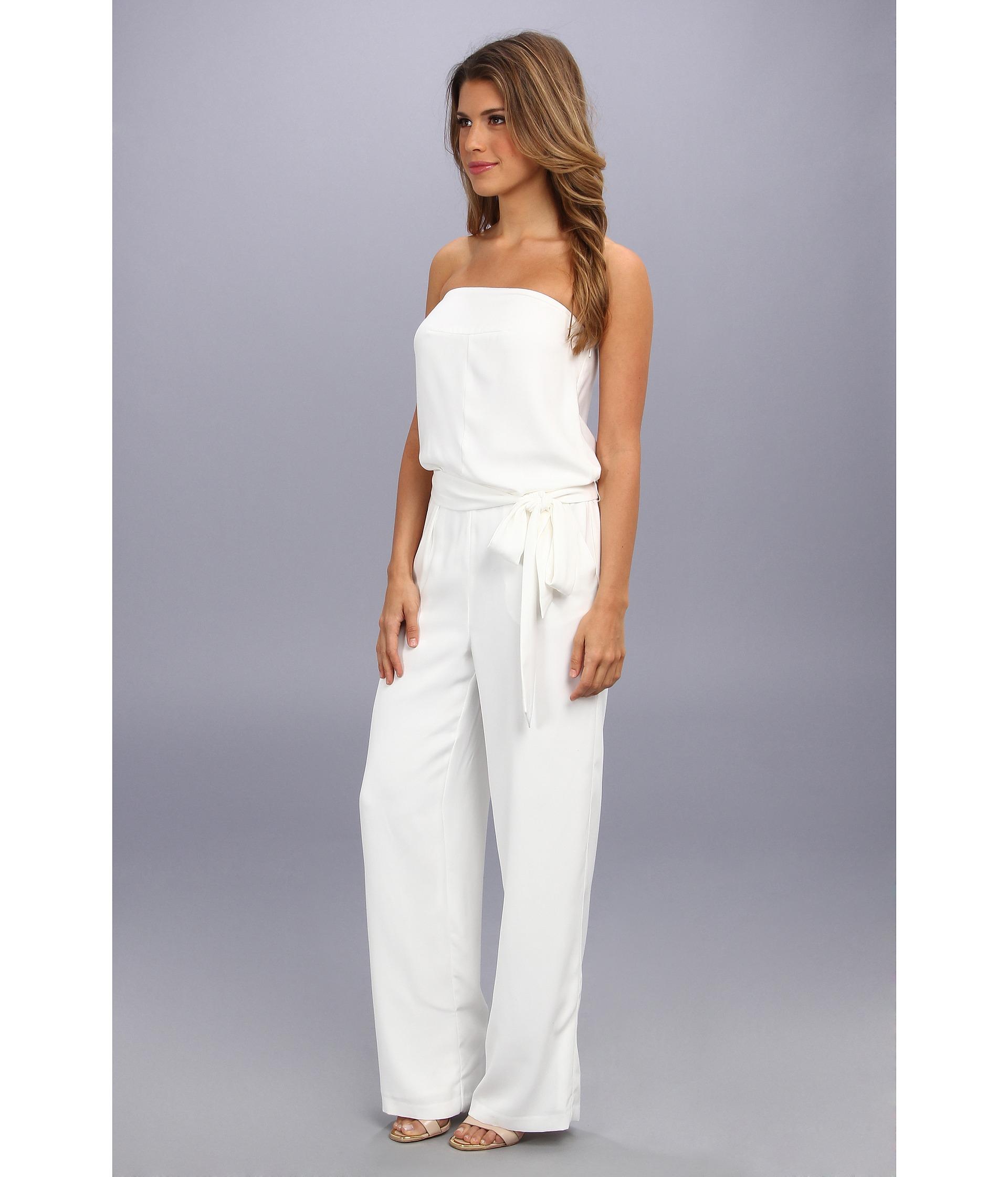 315bcafd032a Lyst - DKNY Strapless Wide Leg Jumpsuit W Self Belt in White