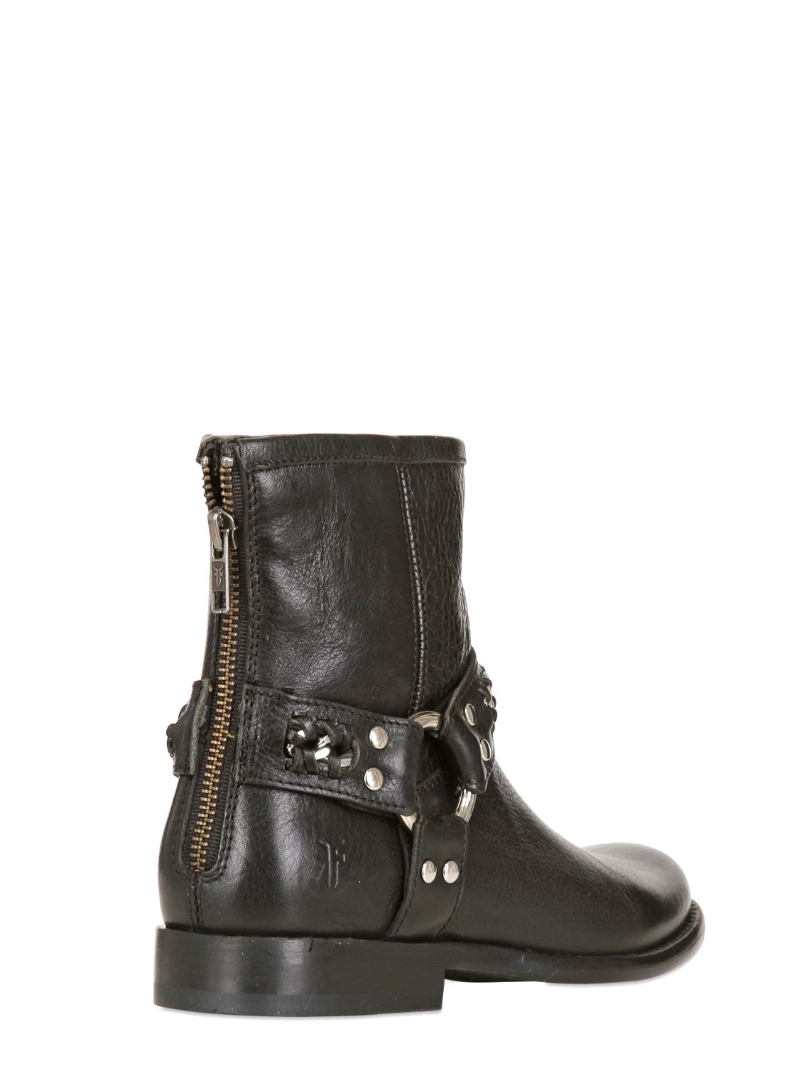 Lyst Frye Phillip Chain Leather Ankle Boots In Black