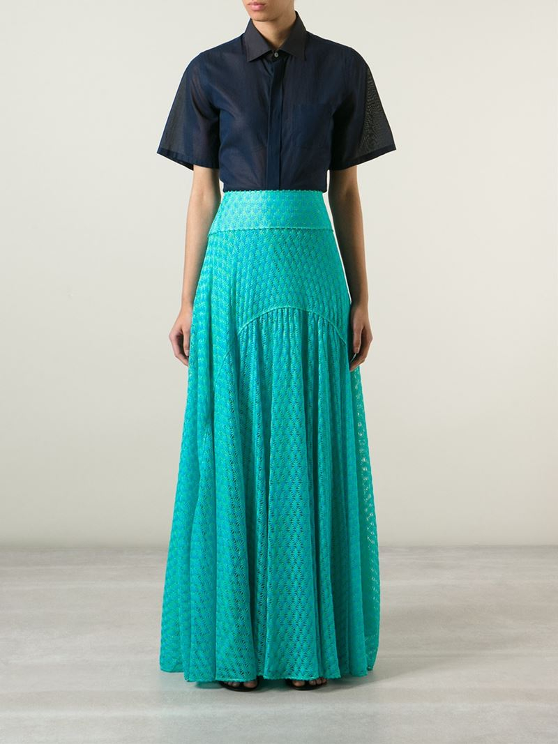 missoni knitted maxi skirt in blue lyst