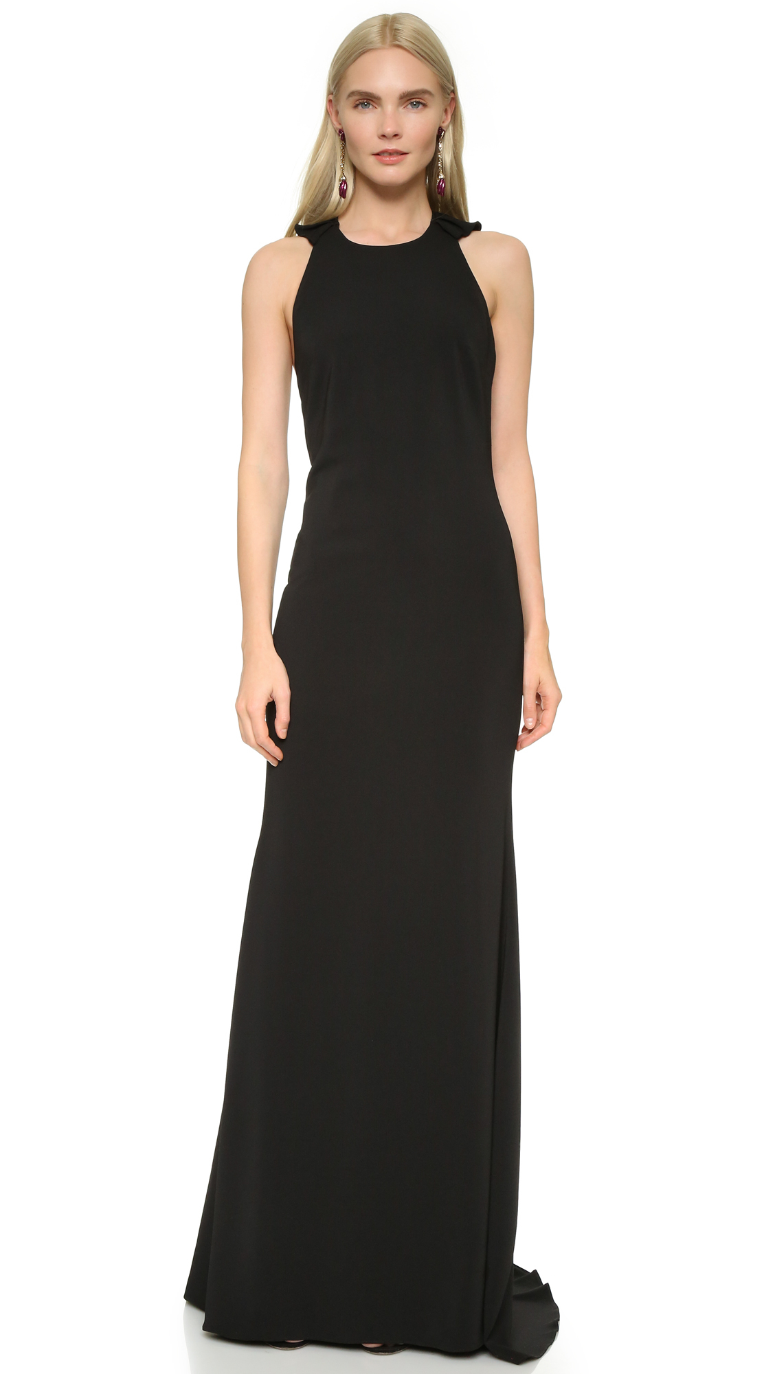 Badgley mischka ruffle back gown in black save 40 lyst for Badgley mischka store nyc