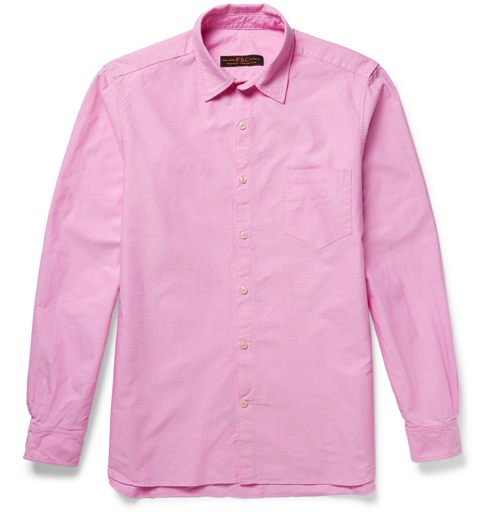 Lyst freemans sporting club slim fit cotton oxford shirt for Pink oxford shirt men