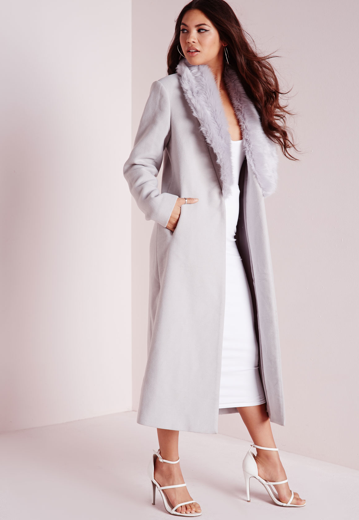 a0eed247b1ea Lyst - Missguided Longline Faux Wool Coat With Faux Fur Collar Grey ...