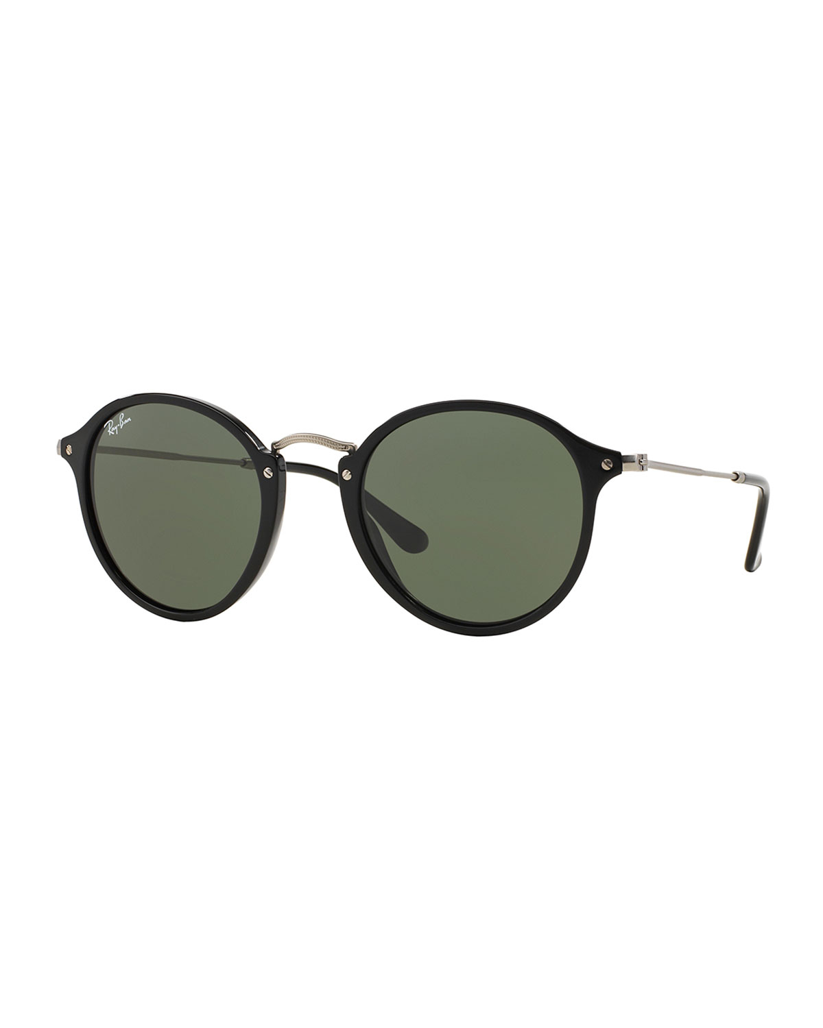 Lyst Ray Ban Round Plastic Metal Sunglasses In Black