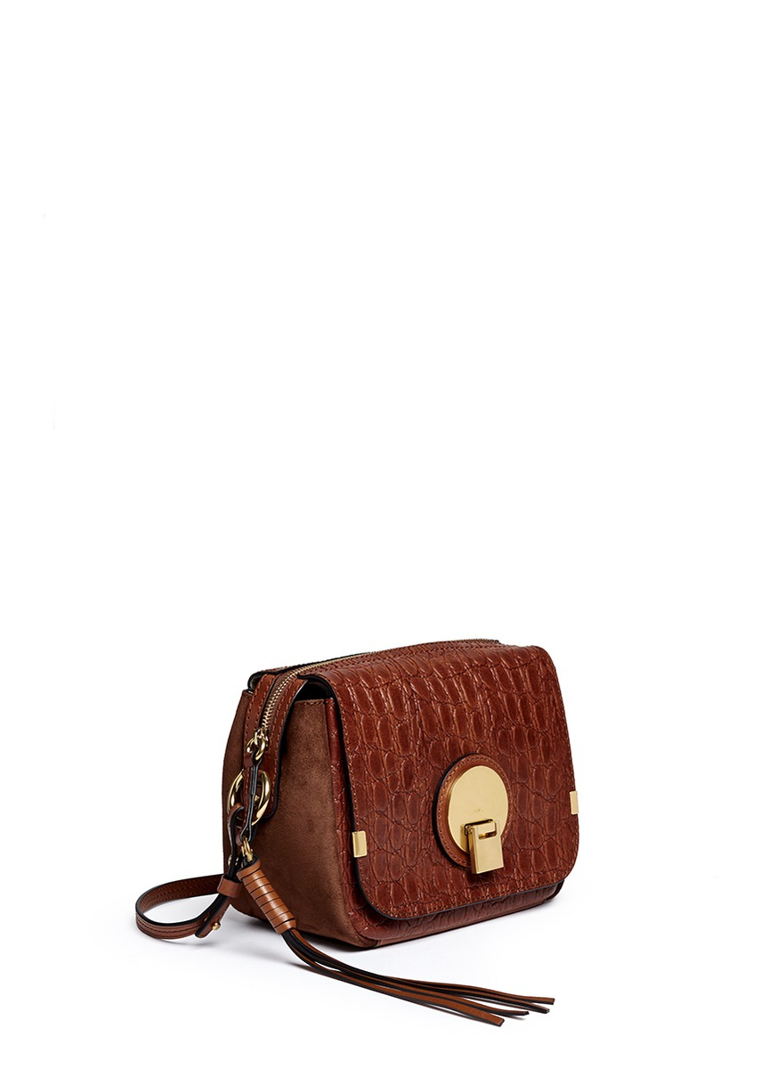 379feb5741 Chloé Brown Indy Croc-Embossed Leather Camera Bag