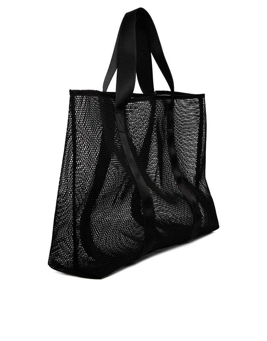 Asos Mesh Beach Bag in Black | Lyst