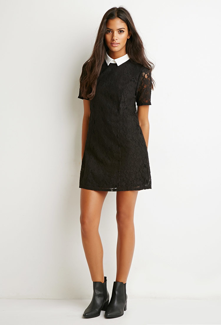 Forever 21 Collared Lace Shift Dress In Black White Black