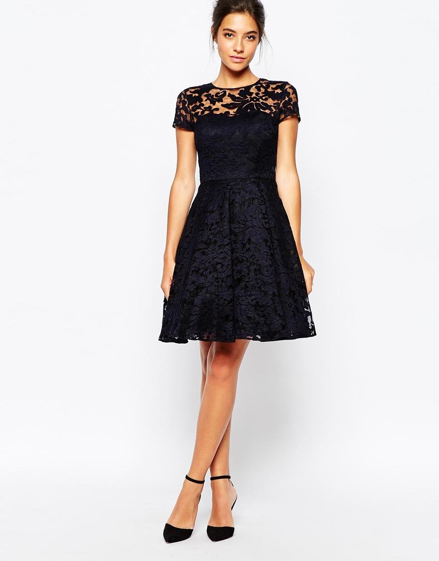 Navy Blue Lace Overlay Dress Dress Ideas