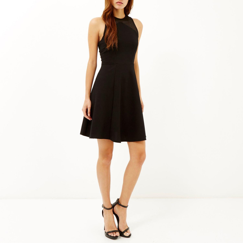 Black leather look panel skater dress