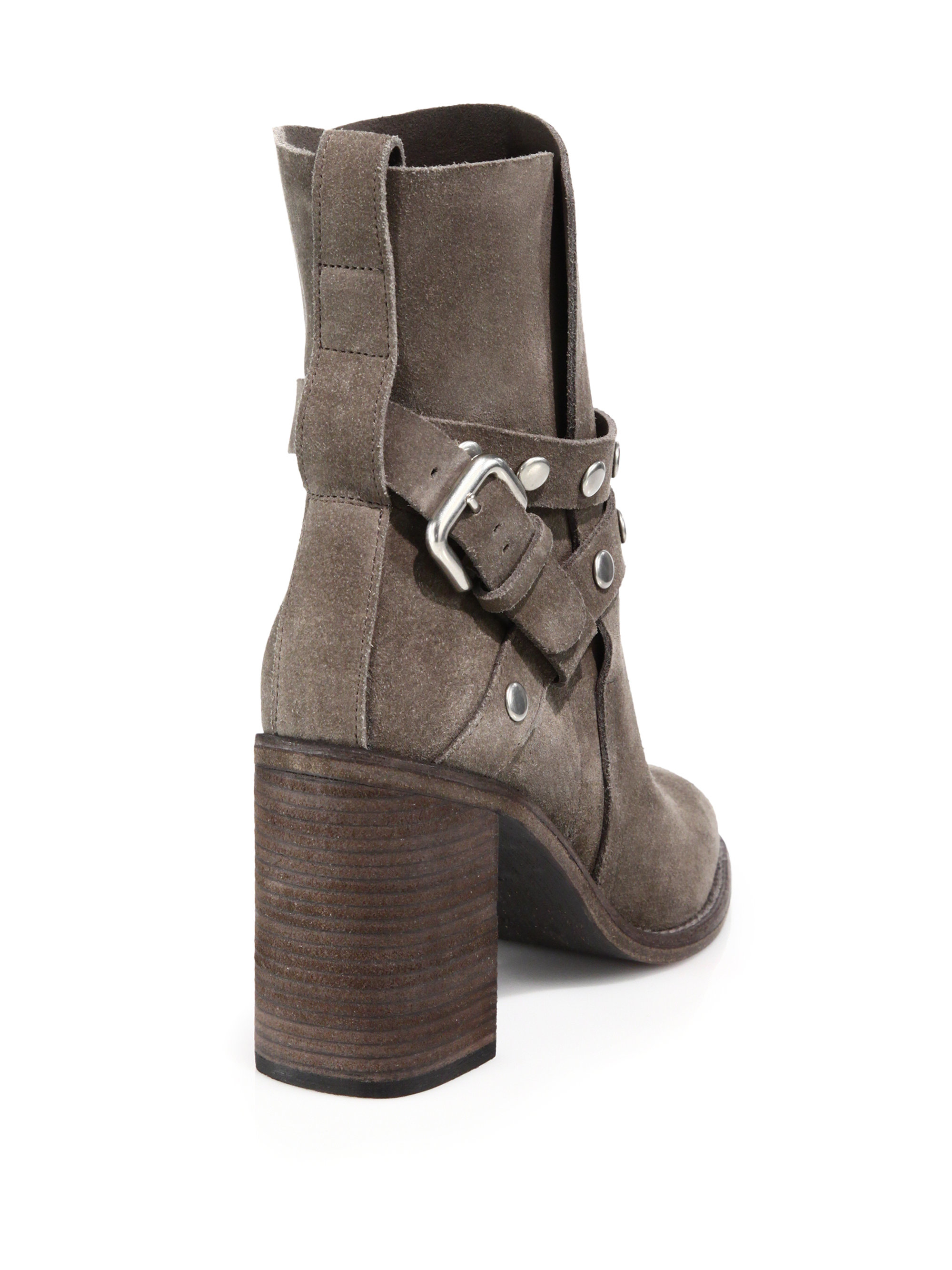 d63bda28e6881 See by chloé Janis Studded Suede Ankle Boots in Gray