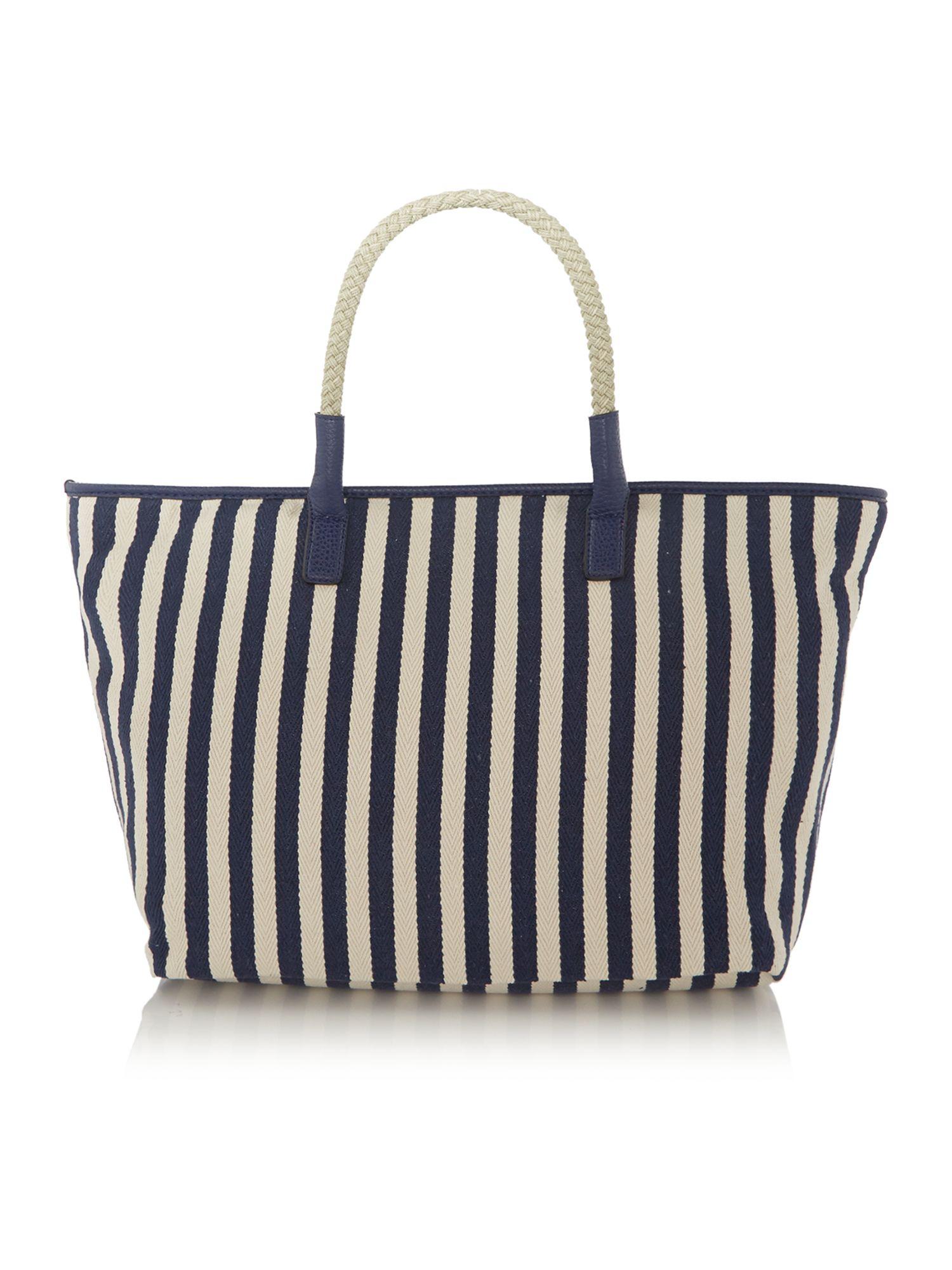 Nica Luka Navy Stripe Tote Bag in Blue