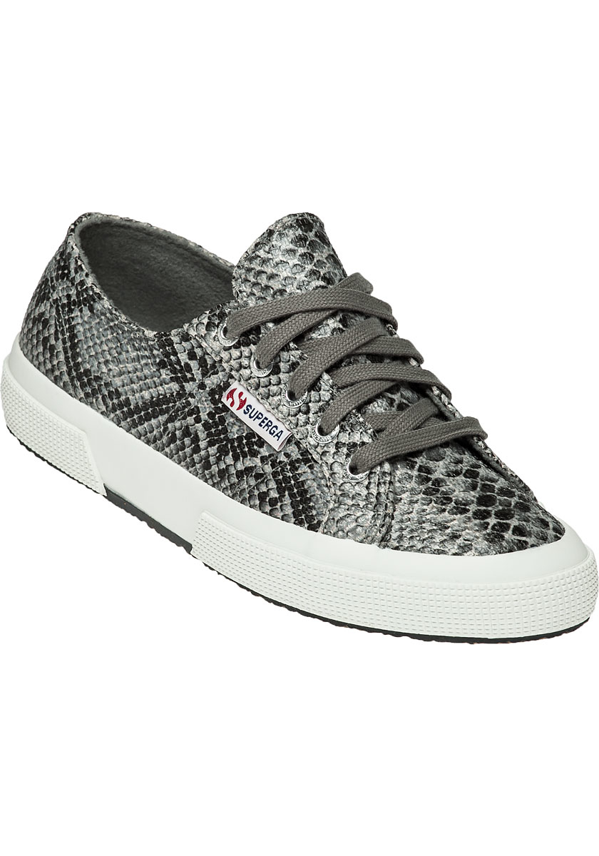 Superga Canvas Women's 2750 Snake Trainers in Grey Snake